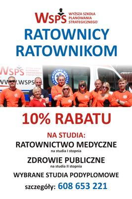 Chcesz studiować Ratownictwo Medyczne,Zdrowie Publiczne? Wybierz WSPS. Jeśli zdecydujesz się studiować w Wyższej Szkole Planowania Strategicznego w Dąbrowie Górniczej, na hasło Ratownicy-Ratownikom otrzymasz 10% rabatu! Zapraszamy.